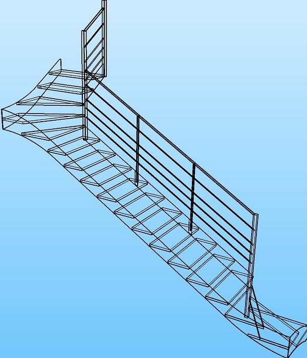 Modélisation escalier double quart-tournant