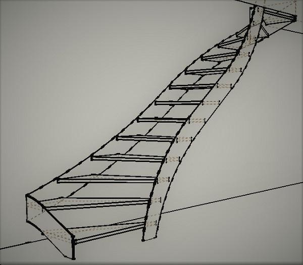 Modélisation escalier balancé